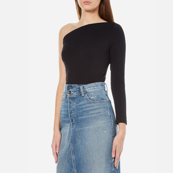 Helmut lang women s one shoulder long sleeve top   black  3