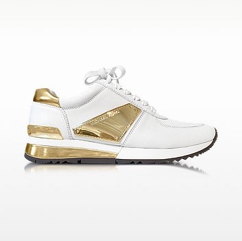 Allie white leather and gold plate wrap sneakers