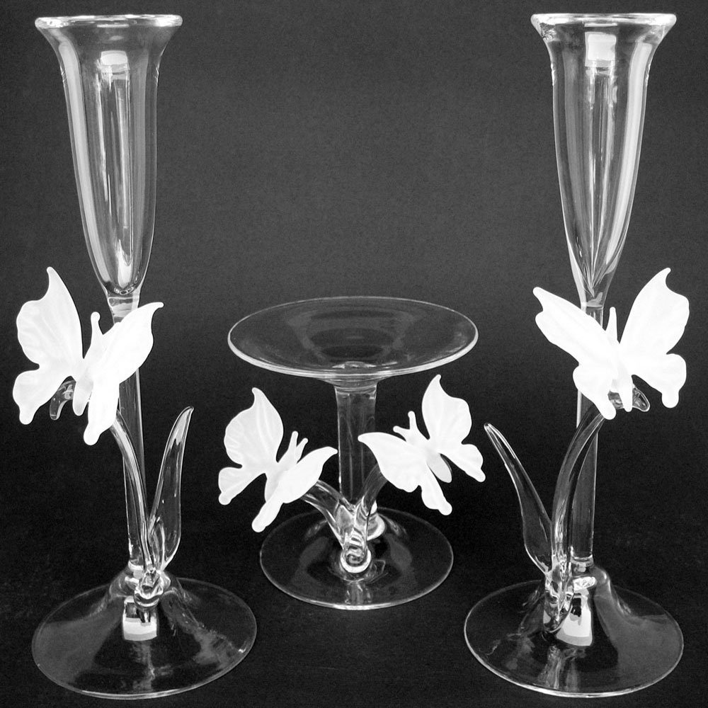 Butterfly unity wedding taper candle holder set of blown glass 2