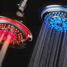 Thumb medium led color changing showerhead