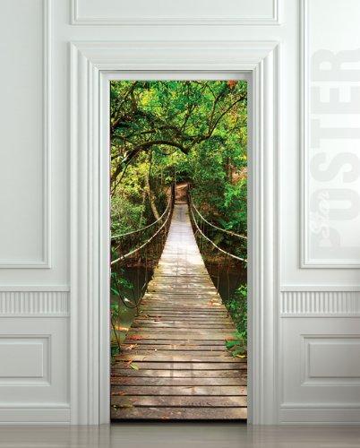 Giant door sticker rope bridge tropic forest