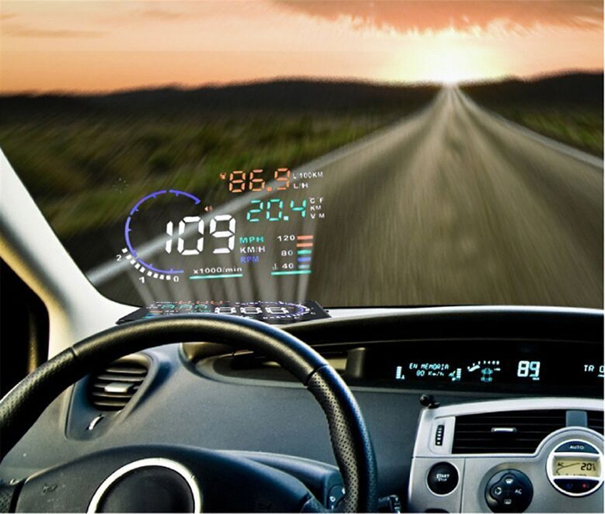 Arestech 5.5 inches a8 multi color hud head up display with obd22