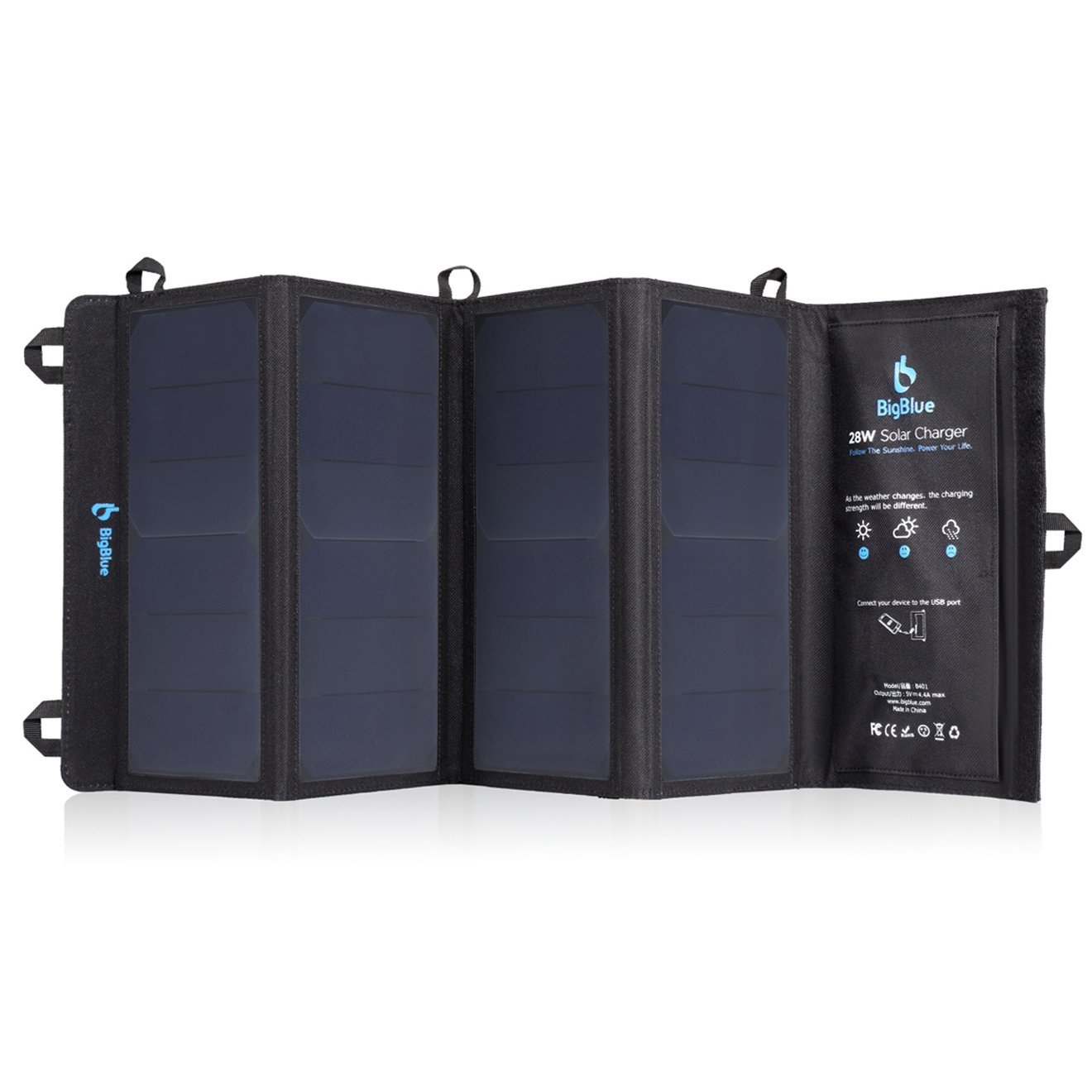 Foldable outdoor solar powered charger with sunpower