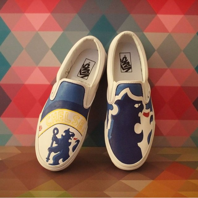 Hand painted chelsea slip on vans