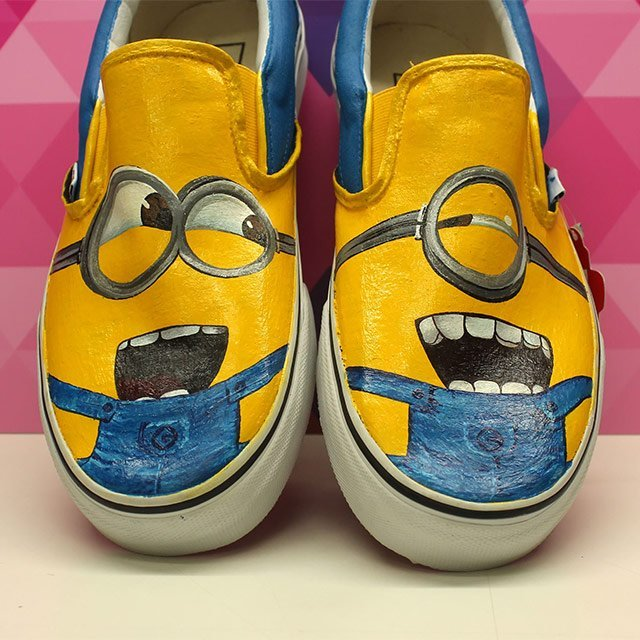 Hand painted minion slip on vans