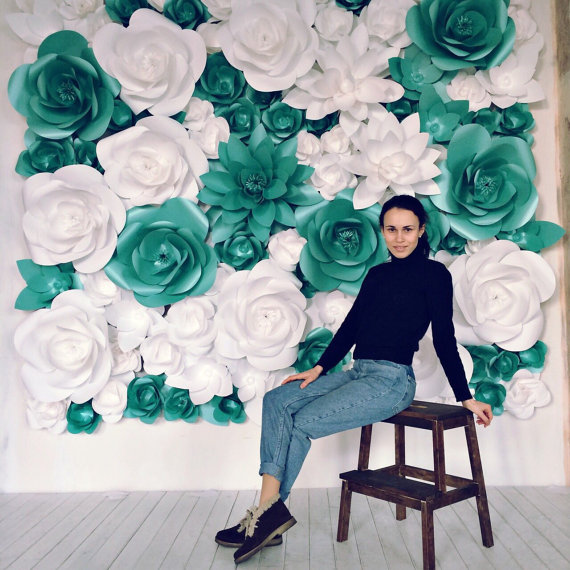 Giant paper flowers wall