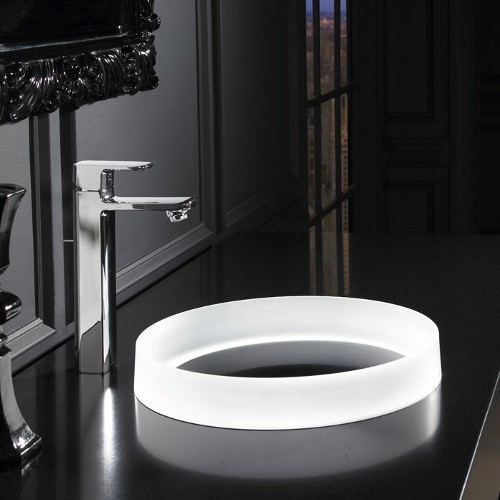 Toto llt152 63 wh luminist lighted round vessel lavatory with white drain cover  angelic white2
