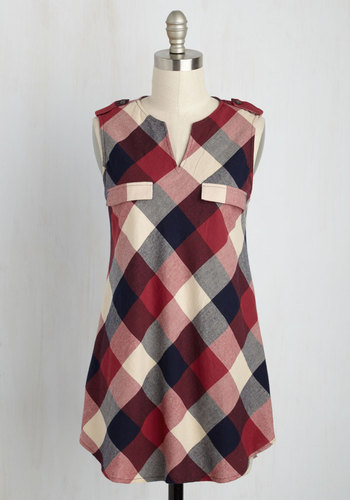Rooftop harvest plaid tunic in red