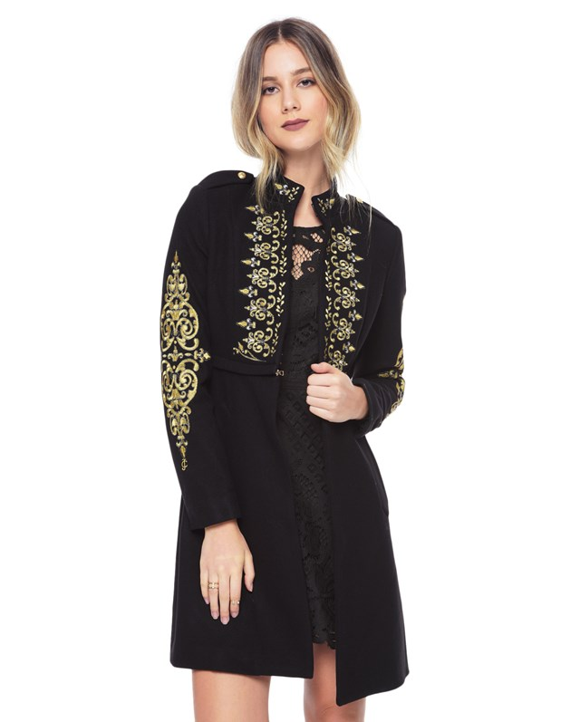 Melton embroidered coat