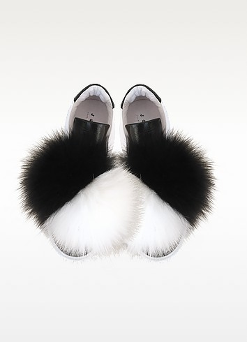 Joshua sanders black white leather and fur pompon sneaker1