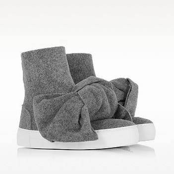 Melange gray high top bow sneakers2