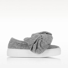 Thumb medium joshua sanders bow gray wool blend slip on sneaker