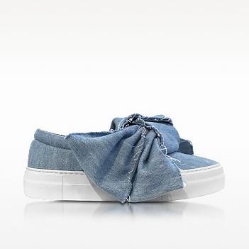 Joshua sanders azure denim bow slip on sneaker