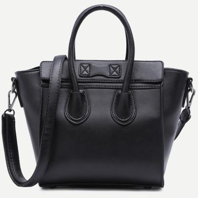 Black zip trim faux leather handbag with strap  3