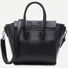 Thumb medium black zip trim faux leather handbag with strap  3