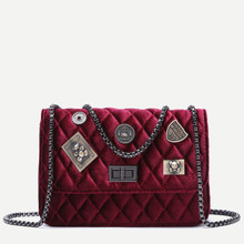Thumb medium maroon embellished boxy quilted crossbody chain bag