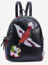 Thumb medium black bird embroidered patchwork backpack
