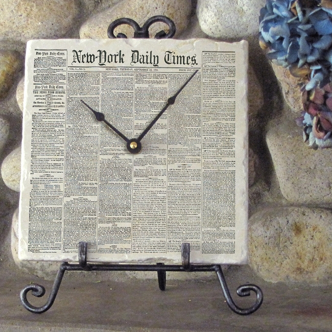 Your new york times front page on marble clock