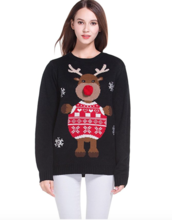 Thumb medium women s christmas cute reindeer knitted sweater girl pullover2