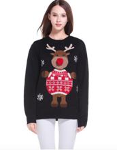 Thumb medium women s christmas cute reindeer knitted sweater girl pullover2