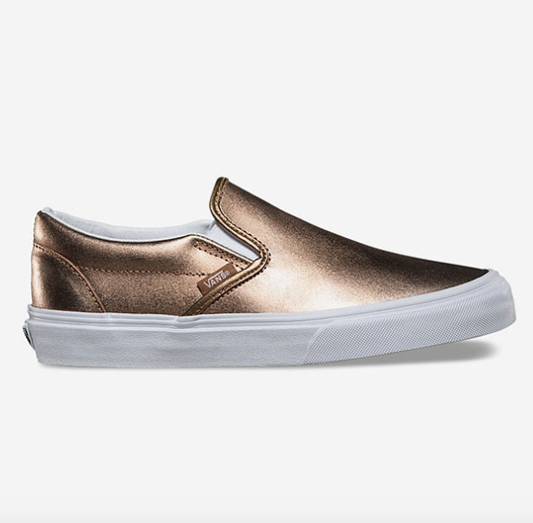 Vans metallic classic slip on womens shoes