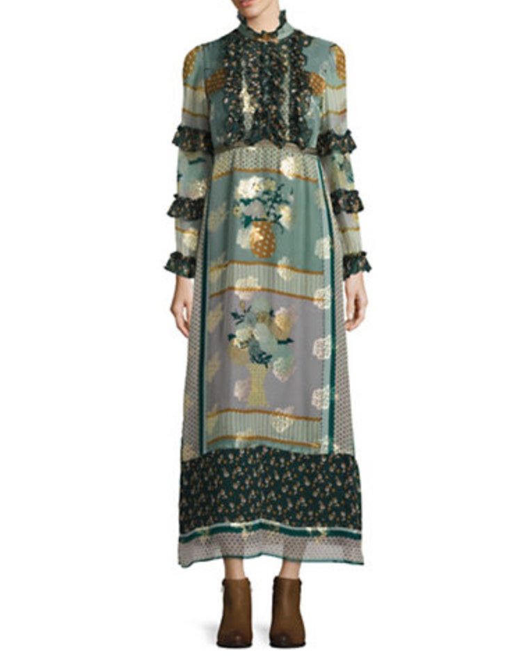 Anna sui patchwork silk blend maxi dress