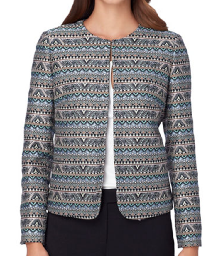 Tahari arthur s. levine tribal printed open jacket