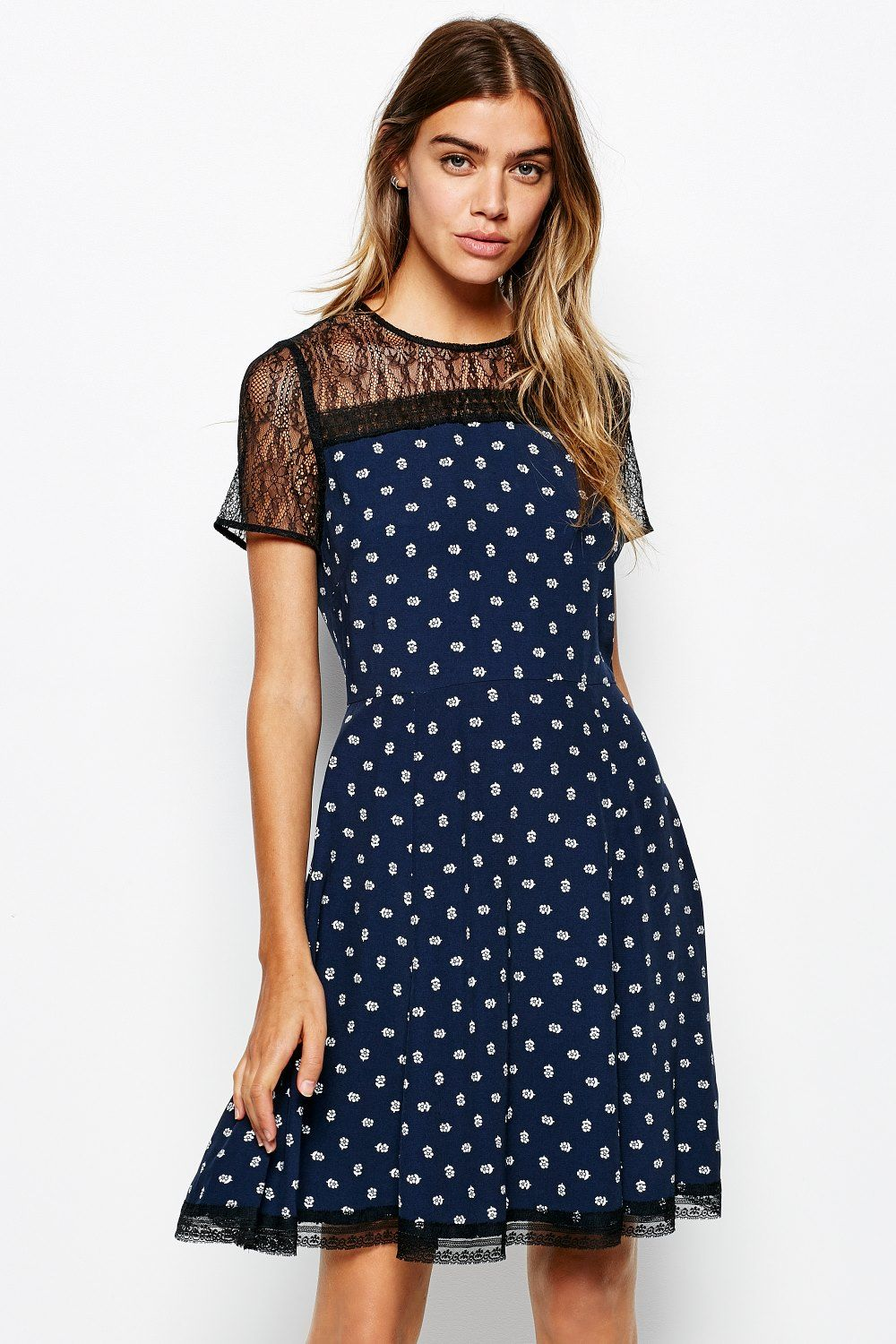 Padhams lace   crepe dress
