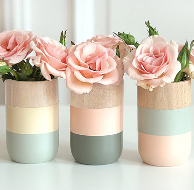 Wooden vases   set of 3   for flowers and more   home decor   for her