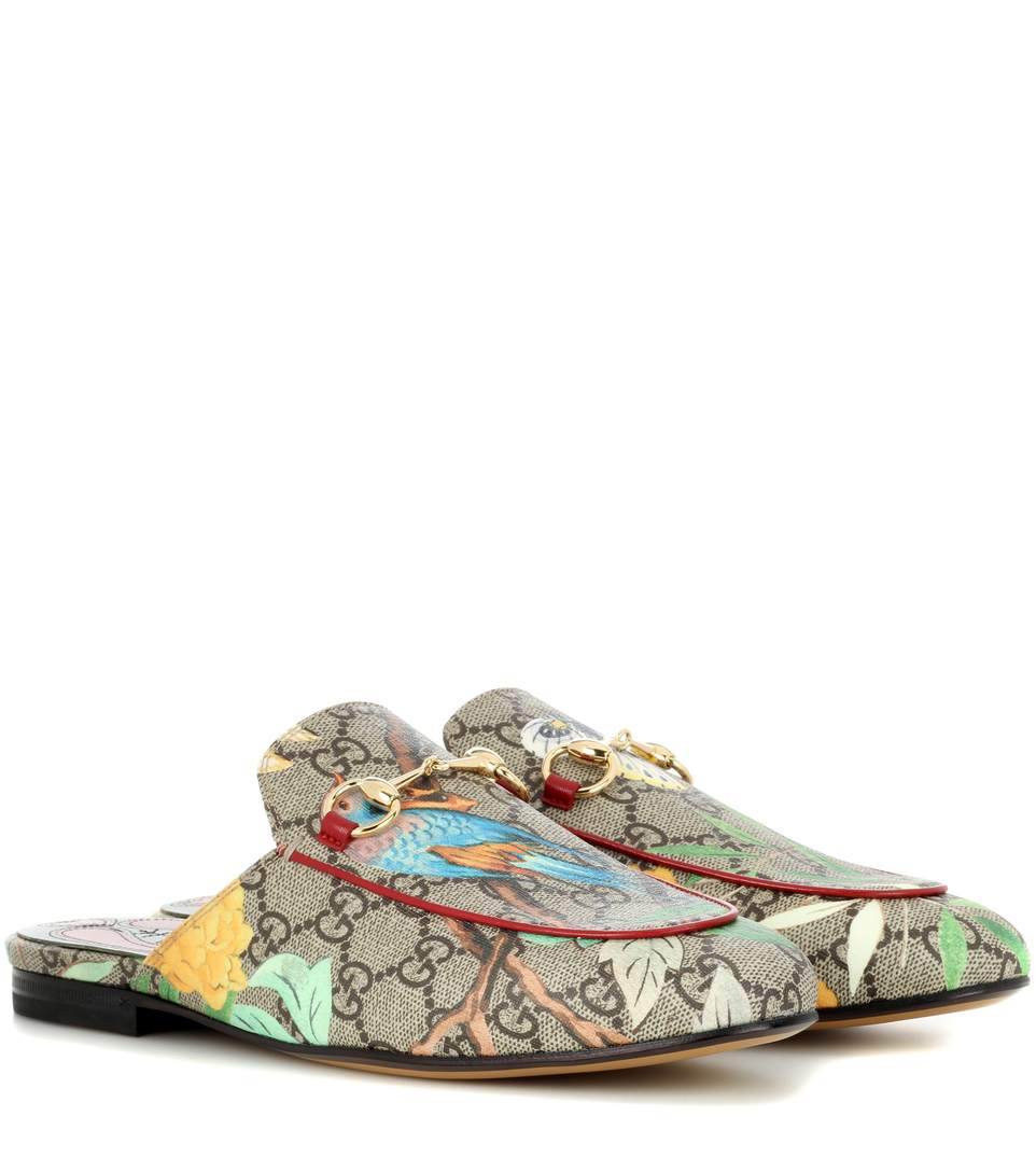 Gucci tian princetown coated canvas slippers