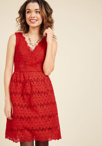Stately satisfaction lace dress in tomato