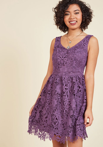 Dreams of decadence lace dress in violet