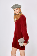 Thumb medium v neck loose sweater dress dr1399  2