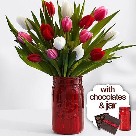 15 sweetheart tulips with red mason jar   chocolates