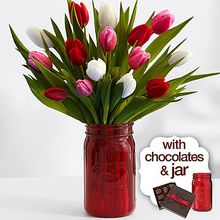 Thumb medium 15 sweetheart tulips with red mason jar   chocolates