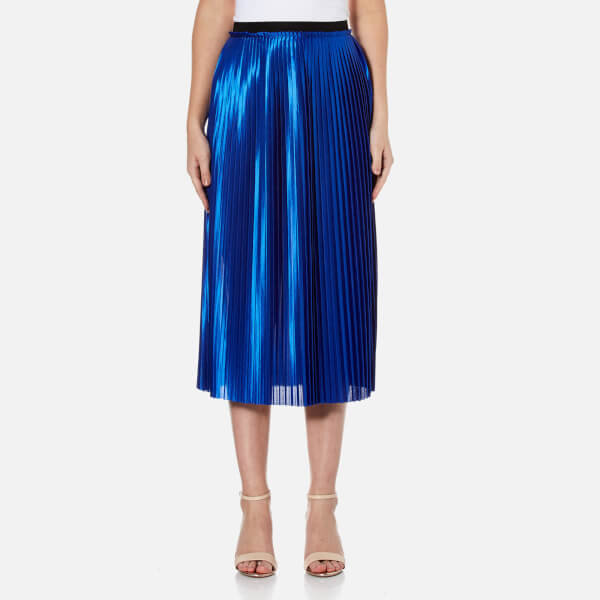 By malene birger women s miqiau pleated midi skirt   cobalt