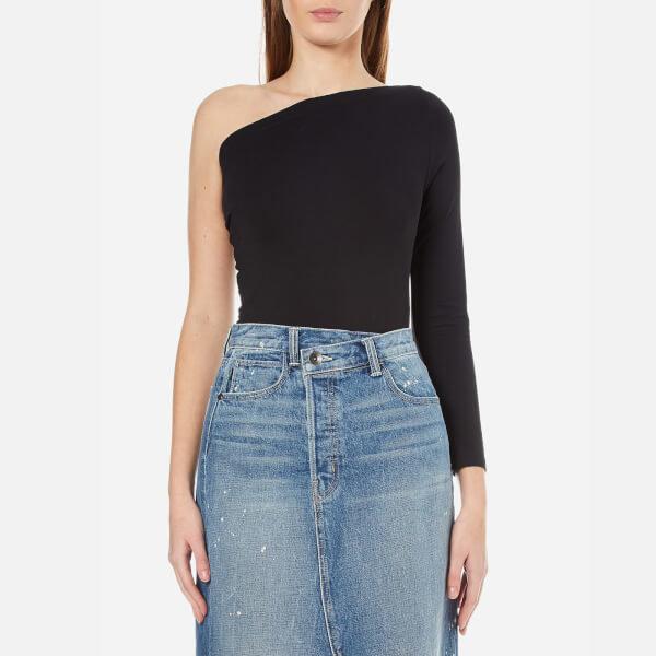 Helmut lang women s one shoulder long sleeve top   black
