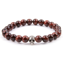 Thumb medium red tiger eye   silver skull bracelet