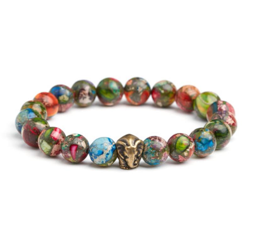 Mardi gras jasper   brass elephant bracelet
