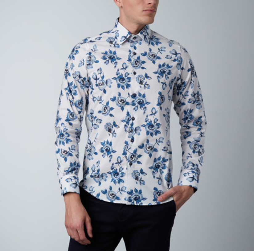 Abstract rose dress shirt    white   blue1