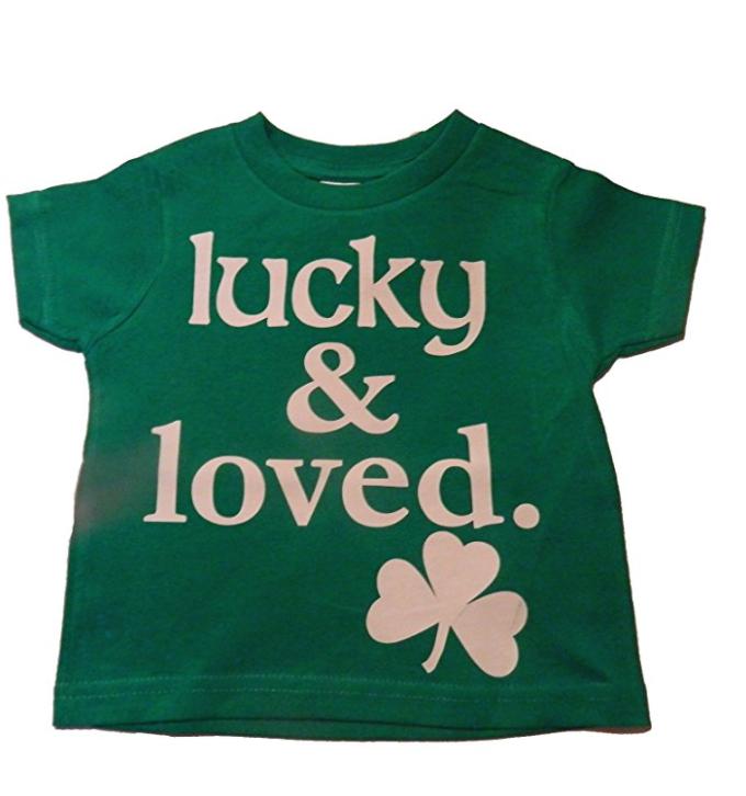 Custom kingdom baby boys girls lucky and loved irish shamrock t shirt green