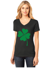 Thumb medium four leaf clover   saint patrick s day irish shamrock v neck women t shirt