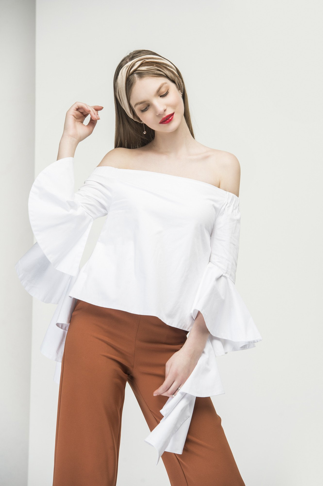 Flared cuff off shoulder top