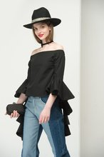 Thumb medium flared cuff off the shoulder top in black 1