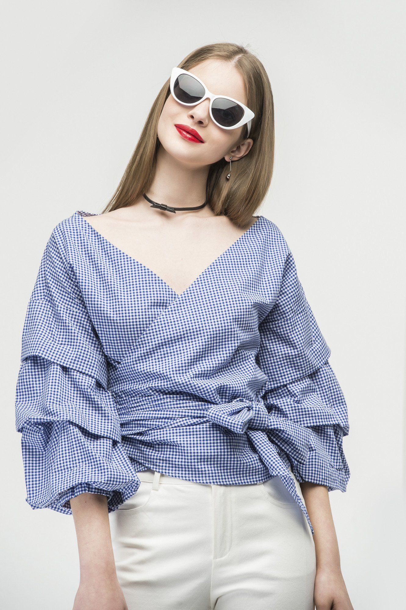 Ruched sleeve wrap blouse in blue