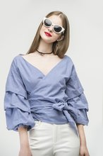 Thumb medium ruched sleeve wrap blouse in blue