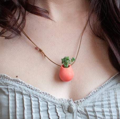 Icosahedron wearable planter in coral  4