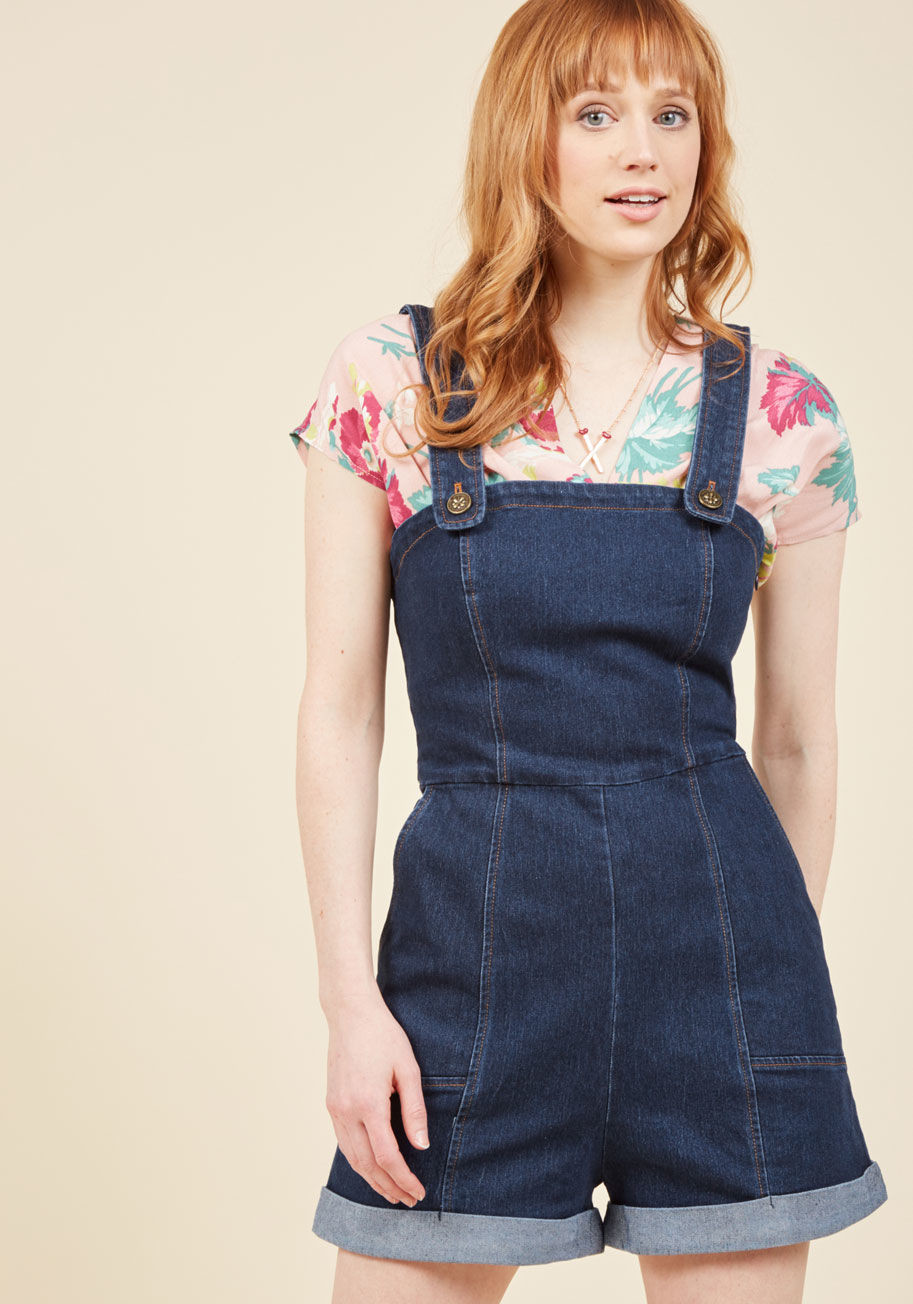 I ve got your throwback denim romper 1