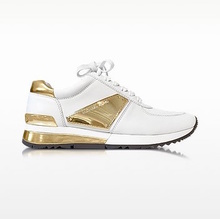 Thumb medium allie white leather and gold plate wrap sneakers