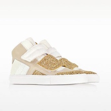 Thumb medium gold  white and beige suede sneaker w glitter